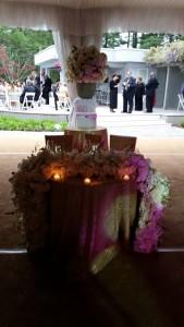 tent wedding dais with candles