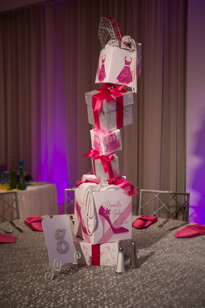 Stacked presents centerpiece for B'Not Mitzvah
