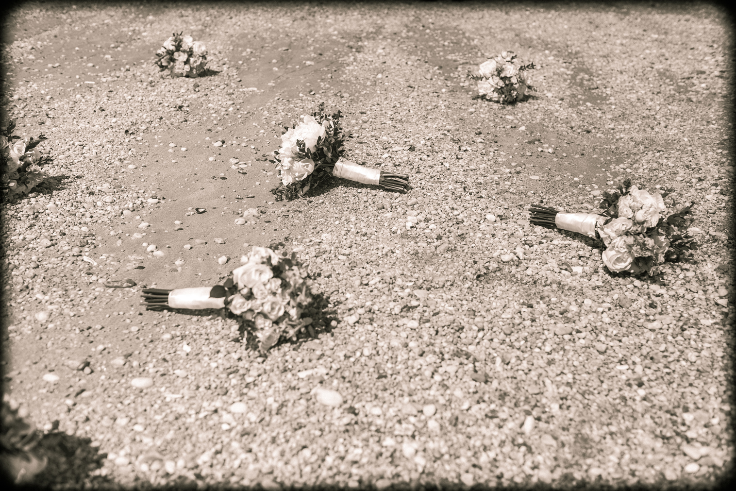 bouquets in sand