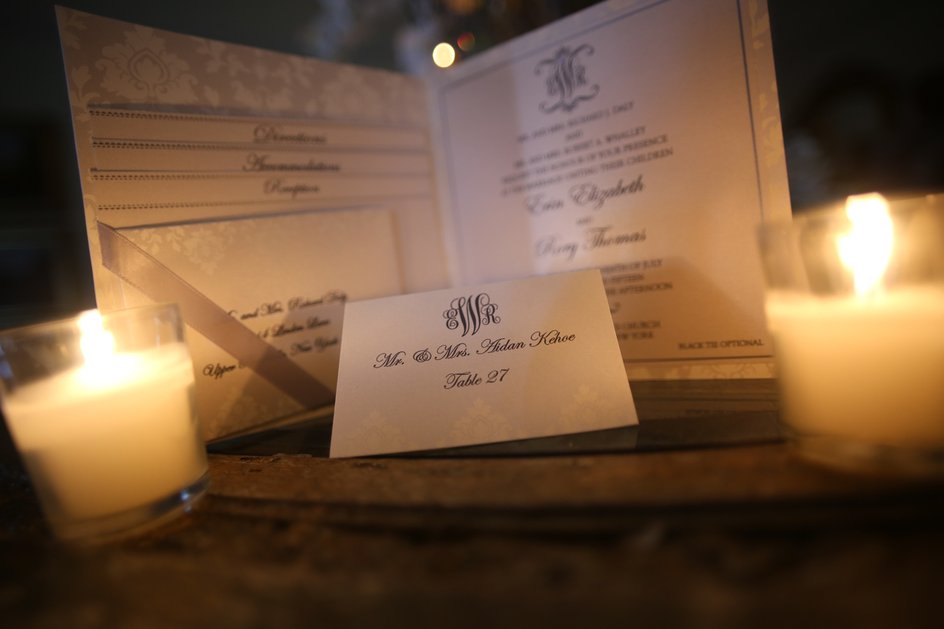 invitation with seating card