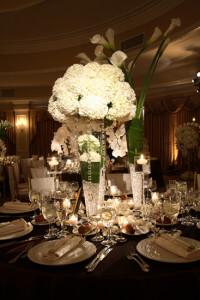 Oheka white floral centerpiece