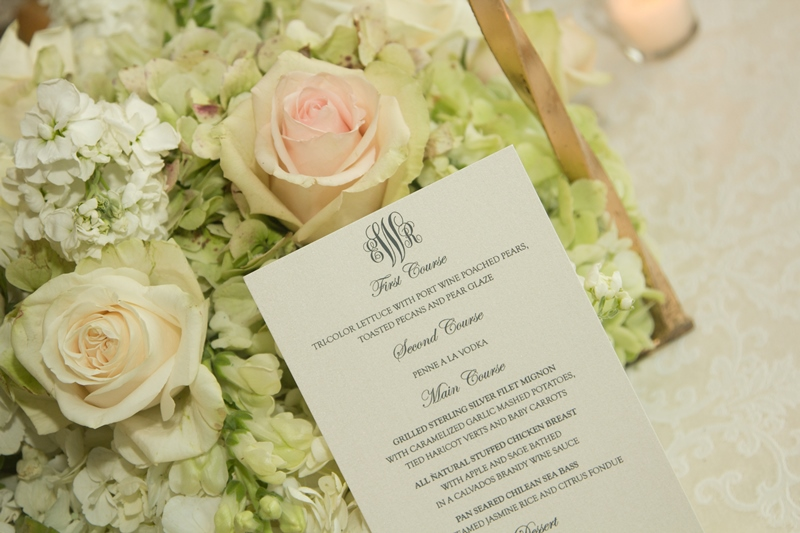 wedding menu on flowers