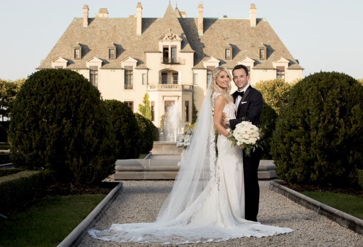 oheka, bride and groom, castle
