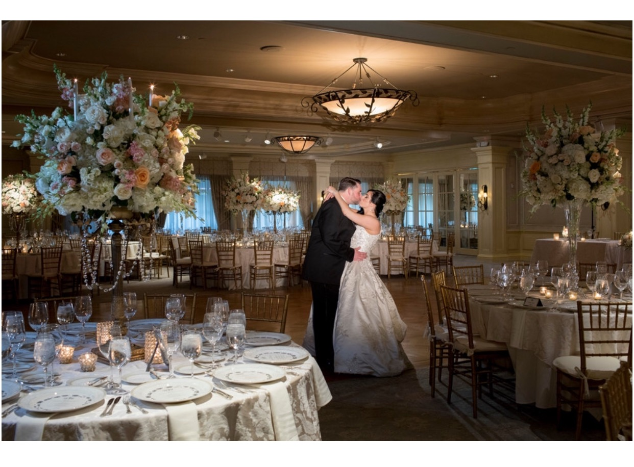 Bride and Groom in Ballroom at Pine Hollow Country Club