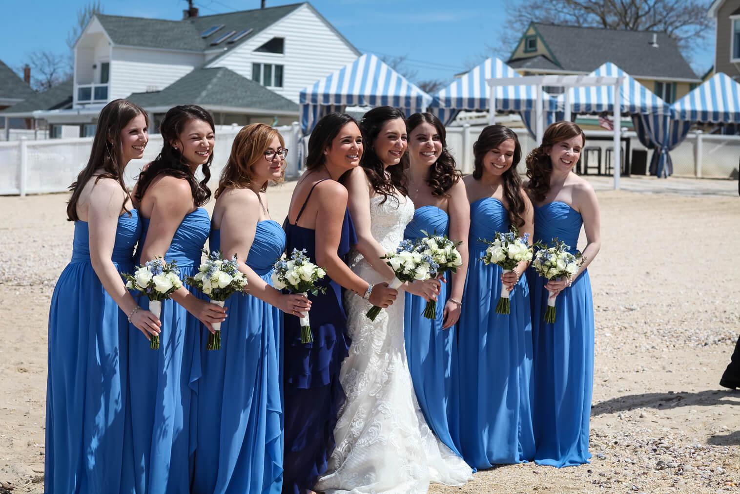 bride and bridesmaids crescent beach club