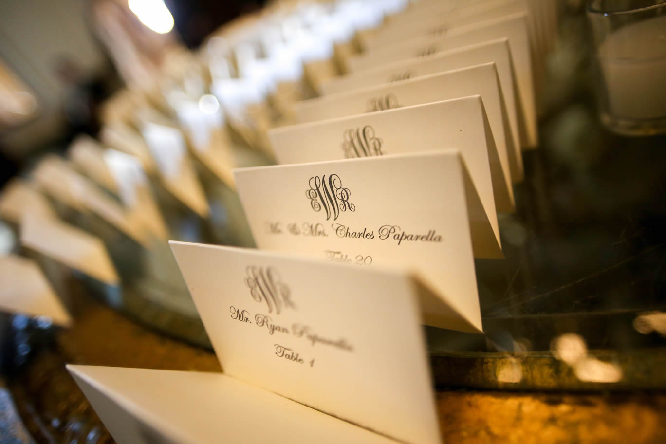 seating cards with monogram